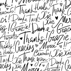 Thank you in different languages of the world. Seamless vector handwritten pattern of Thanks