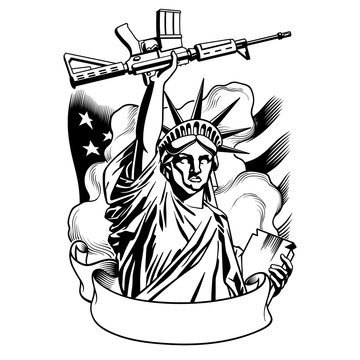 Statue of liberty with gun. Statue holding weapon, with ribbon, flag, and smoke on background