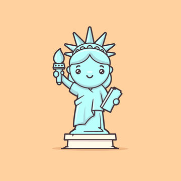 Cute kawaii Statue of Liberty vector cartoon illustration