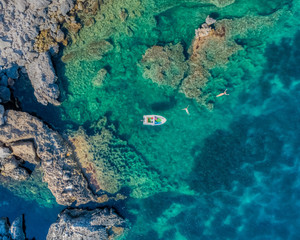 Aerial view of boat moving in sea at Croatia