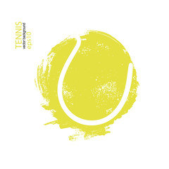 Vector illustration tennis ball isolated. Design print for T-shirts, hand drawing. Element sports for the poster, banner, flyer, grunge, spray).