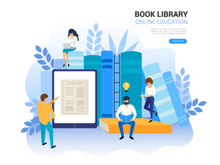Online education concept. Web archive and e-learning tutorials for social media. Distance education and internet studying. Online training, digital book library vector illustration on white