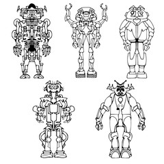 Black and white vector abstract funny monster robot character icons set illustrating industrial automation, toys, or robotics and fantasy machines. Hand drawn.