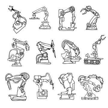 Black and white vector abstract robot arm icons set illustrating industrial automation and fantasy machines. Hand drawn.