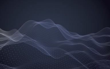 Abstract landscape on a dark background. Cyberspace navy blue grid. Hi-tech network. 3D illustration