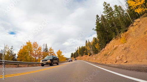 Wall mural Mountain highway driving
