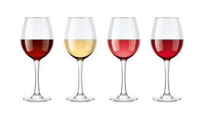 Wine glasses mockups set