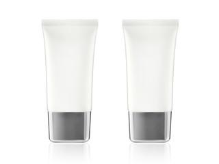 White glossy plastic tube for medicine or cosmetics - cream