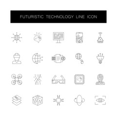 Line icons set. Futuristic technology pack. Vector illustration