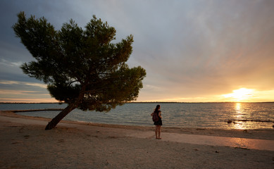 Silhouette of tourist woman in short dress and with backpack standing alone near big tree at water...