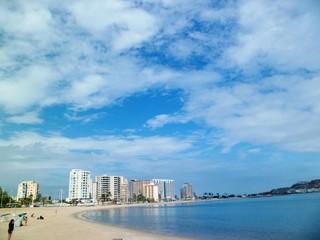 ciudad, viaje, paisaje, playa, vacaciones, arena, cielo, nubes, agua, azul, edificios, Venezuela, Lechería,