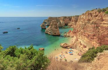 One of the worlds most beautiful beaches, the Praia da Marihna beach at the Algarve Coast in Portugal