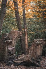 Ruins of building in forest with autumn/fall colours