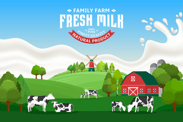 Vector milk illustration with cows, calves, farm and milk splash