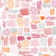 Seamless vector pattern made by hand drawn paint strokes. Retro stripe