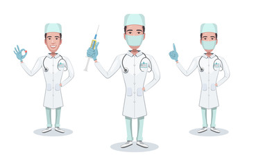 Set of character medical doctor. Doc holds syringe. Healthcare and medical help. Doctor, consulting, shows gestures of a positive result. Vector illustration in cartoon style.