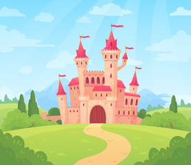 Fairytale landscape with castle. Fantasy palace tower, fantastic fairy house or magic castles kingdom cartoon vector background