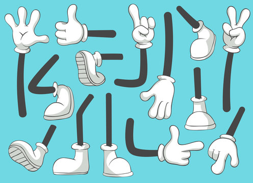 Cartoon legs and hands. Leg in boots and gloved hand, comic feet in shoes. Glove arm vector isolated illustration set
