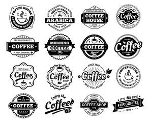 Coffee badges. Cafe logo stamp sticker. Restaurant logotype. Vintage logotype vector isolated illustration