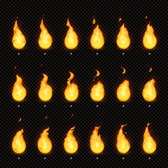 Fire animation. Flaming flame, fiery blaze and animated blazing fire flames isolated vector animations frames
