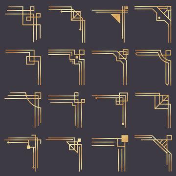 Art deco corner. Modern graphic corners for vintage gold pattern border. Golden 1920s fashion decorative lines frame vector set