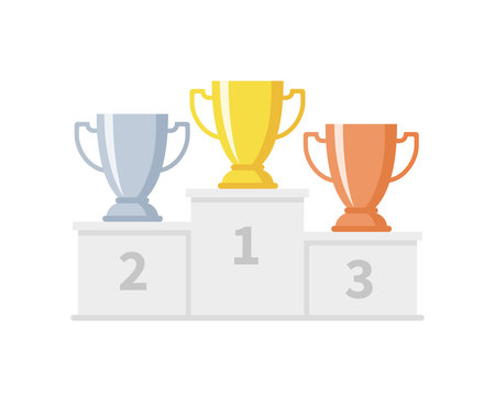 Winner podium with trophy cups. Gold, silver and bronze goblets on sports pedestal. Competition and goal achievement vector business concept