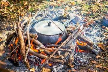 Cooking in a pot in the nature_