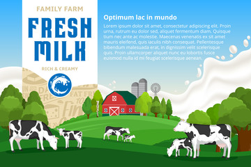 Milk illustration. Rural landscape. Cows and calves