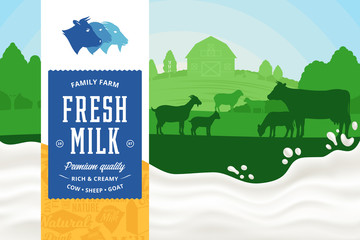 Milk illustration. Rural landscape. Milk splash