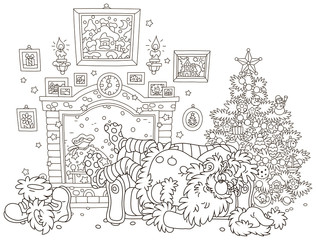 The night before Christmas. Santa Claus sleeping after hard work on a couch near a decorated fir tree and a fireplace, black and white vector illustration in a cartoon style for a coloring book