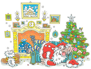 The night before Christmas. Santa Claus sleeping after hard work on a couch near a decorated fir tree and a fireplace, vector illustration in a cartoon style
