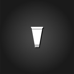 Tube, container, toothpaste, cream icon flat. Simple White pictogram on black background with shadow. Vector illustration symbol