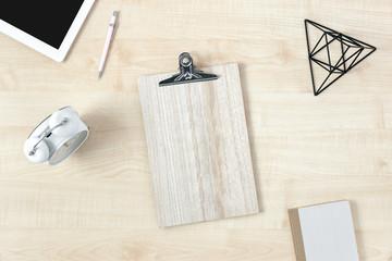 Feminine workspace сlipboard accessories top view