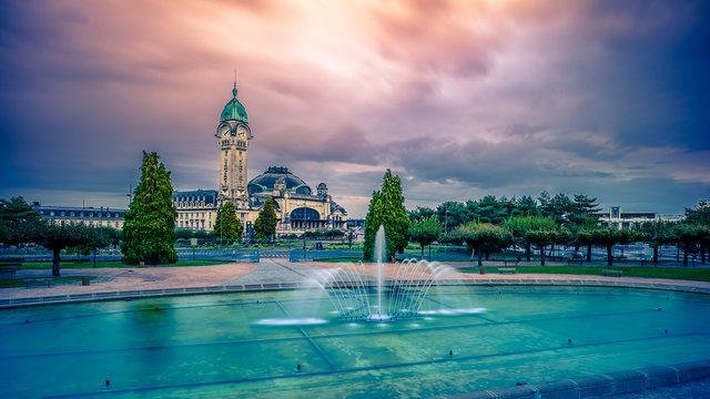 gare de Limoges ciel rose