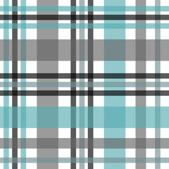 Seamless tartan plaid pattern. Checkered fabric texture print in stripes of bright blue, teal black, teal blue and white.