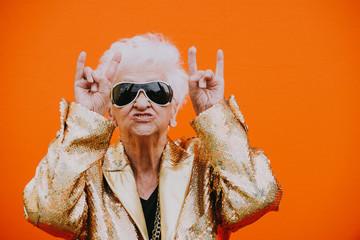 Fototapeta Grandmother portraits on colored backgrounds obraz