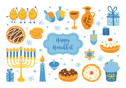 Jewish holiday Hanukkah element set for graphic and web design. Vector illustration