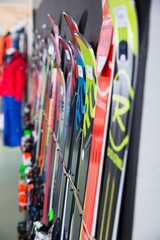 Large choice of skis in store of Barcelona