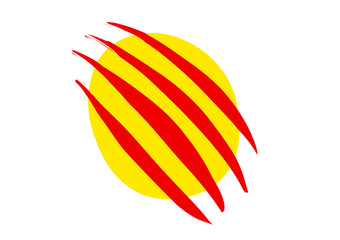 Rounded Catalonia flag or seal. Vector illustration