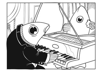 A fish character playing the piano and another fish character ready to sing in a concert hall. Vector illustration
