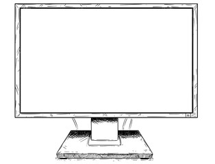 Vector artistic pen and ink drawing illustration of empty desktop computer display or monitor as sign for your text.