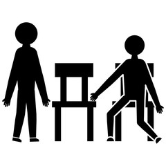 The man offers to sit on a chair glyph icon