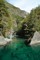 Blue river is very clear in beautiful landscape Argentina
