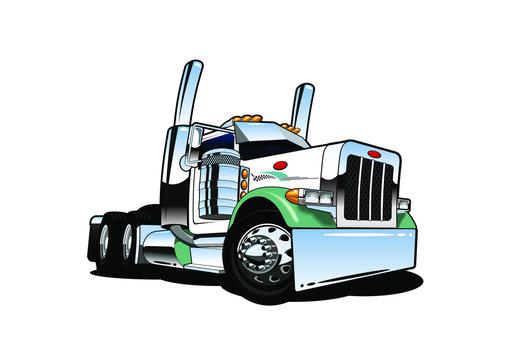 cartoon big rig truck vector illustration