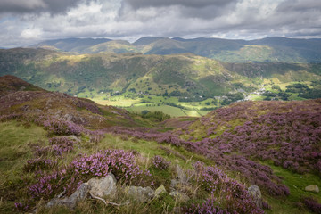 Great view over the valley of Grat Langdale and Coniston England