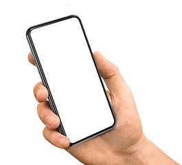 Smartphone in hand blank screen frameless design
