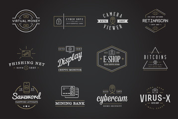 Set of Vector Cyber Security Identity Badges and Signs Can be used as Logotype