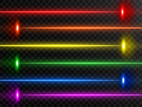 Laser beam set. Colorful rainbow laser beam collection isolated on transparent background. Neon lines. Glow party laser beams abstract effect. Bright futuristic design elements. Vector illustration