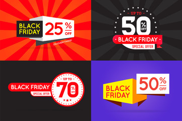Set of Black Friday (BF) Sale Signs, Banners, Posters, Cards. Vector.