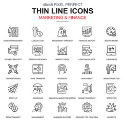 Thin line marketing and finance icons set for website and mobile site and apps. Contains such Icons as Crowdfunding, Market, Business. 48x48 Pixel Perfect. Linear pictogram pack. Vector illustration.